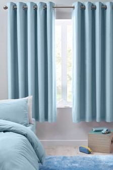 Micro-Fresh Plain Dye Eyelet Lined Blackout Curtains