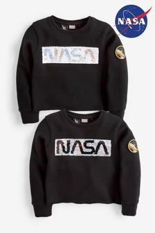 NASA Sweatshirt mit Rundhalsausschnitt und Pailletten (3-16yrs)