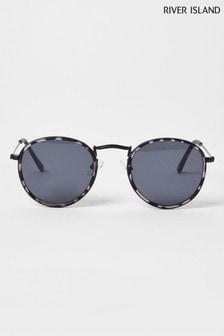 River Island Grey Tort Frame Round Sunglasses
