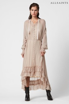 AllSaints Nude Pink Polka Dot Maxi Dress