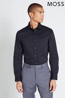 Moss London Extra Slim Fit Black Single Cuff Stretch Shirt