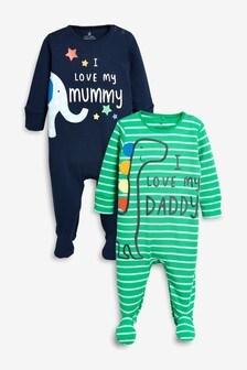 """Zestaw dwóch par śpioszków z postaciami i napisem """"Mummy"""" i """"Daddy"""" (0m-cy-2lata)"""