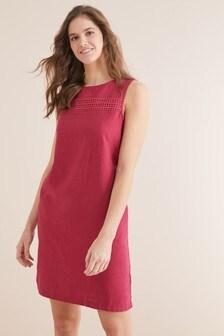 Льняное цельнокройное платье