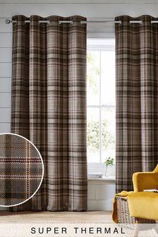 Charcoal Grey Hartley Check Eyelet Super Thermal Curtains