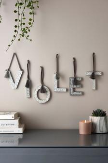 Grey Geo Alphabet Hanging Decoration