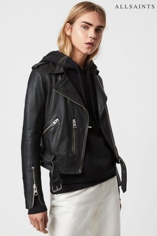 AllSaints Black Balfern Leather Biker Jacket