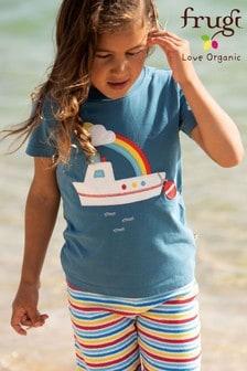 Frugi GOTS Organic Blue Short Sleeve T-Shirt With Boat Appliqué