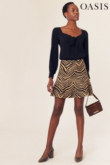 Oasis Multi Brown Taya Tiger Flippy Skirt
