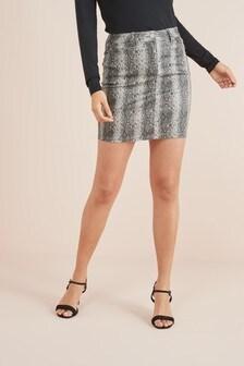 Джинсовая юбка с покрытием