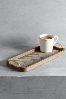 Wooden Leaf Print Tray