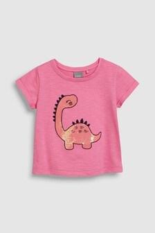 Футболка с короткими рукавами и рисунком динозавра с пайетками (3 мес.-7 лет)