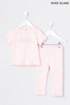 River Island Pink Logo Nap Queen Pyjama Set