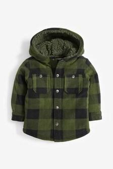 Giacca stile camicia in pile a quadri con cappuccio (3 mesi - 7 anni)