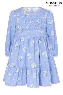 Monsoon藍色有機棉嬰兒菊花平織連身裙