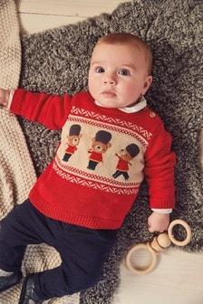 Pulover cu ursuleț tricotat (0 luni - 2 ani)