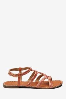 Raffia Strappy Gladiator Sandals
