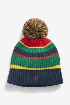 כובע פונפון עם דוגמת קולור בלוק