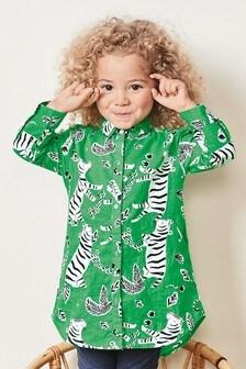 Платье-рубашка с тигровым принтом (3 мес.-7 лет)