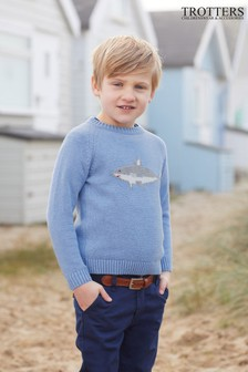Голубой джемпер с акулой Trotters London