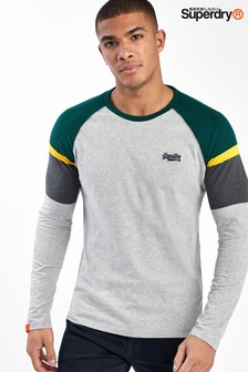 Superdry Grey Long Sleeve Baseball T-Shirt