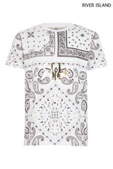 Biele tričko River Island s kašmírovým vzorom