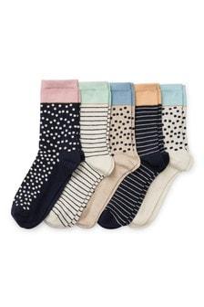 Набор из пяти пар носков с отделкой пастельного цвета