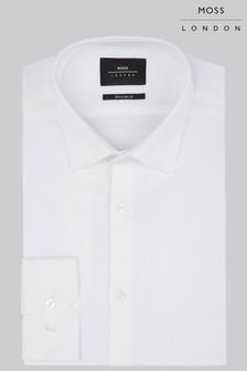 Белая сильно приталенная фактурная рубашка с прямыми манжетами Moss London
