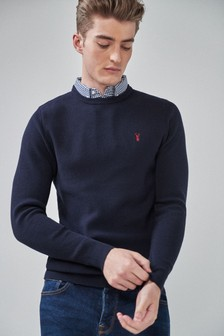 Cotton Mock Shirt Crew Jumper