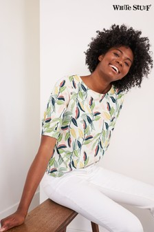 White Stuff Yellow Leaf Print Tuck T-Shirt