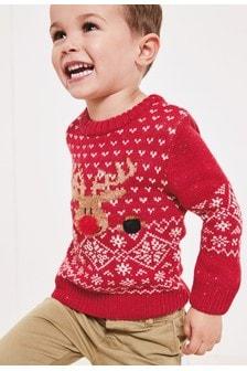Джемпер с рождественским оленем (3 мес.-7 лет)