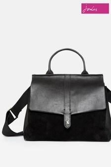 Joules Black Molton Suede Tote Bag
