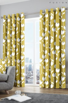 Fusion Alabar Geo Floral Lined Eyelet Curtains