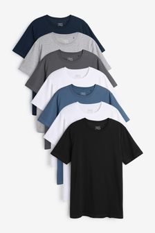 Slim Fit Crew Neck T-Shirts 7 Pack