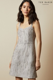 Ted Baker Silver Rearay Textured Mini Dress
