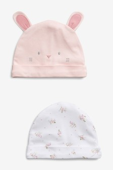 2 Pack Bunny Character Beanie Hats (0-18mths)