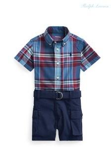 طقم خروج قميص وشورت أزرق من Ralph Lauren