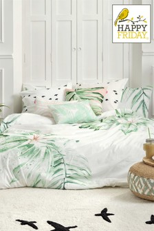 Happy Friday Green Delicate Duvet Cover and Pillowcase Set