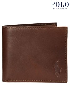 Polo Ralph Lauren Brown Camo Print Leather Billfold Wallet
