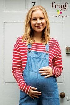 Frugi GOTS Organic Red Breton Long Sleeve Maternity To Breastfeeding Top