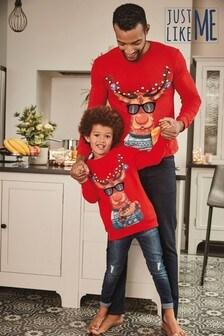 Рождественскаядетская футболка с изображением Рудольфа (коллекциядля всей семьи) (3-16 лет)