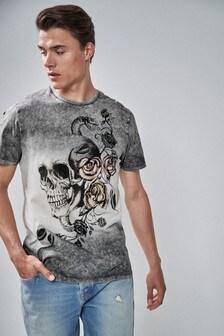 Dip Dye Skull Graphic T-Shirt