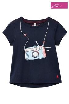 Joules - Marineblauw Camera Astra T-shirt met applicatie