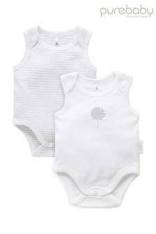 Purebaby Grey Organic Cotton Singlet Bodysuits 2 Pack