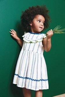 Полосатое платье с воротником с оборкой (3 мес.-7 лет)