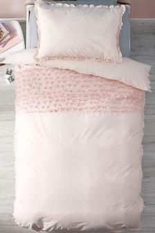 Set mit Bettbezug und Kissenbezug mit Rüschen, Rosa