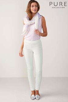 Pure Collection White Cotton Stretch Skinny Trouser