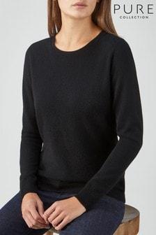 Pure Collection Black Cashmere Original Crew Neck Sweater
