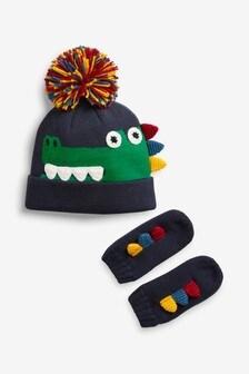 Комплект из шапочки с изображением крокодила и рукавиц (Младшего возраста)