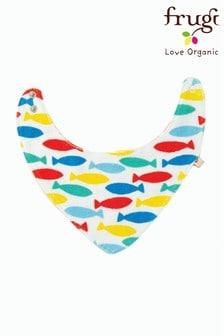 Babero reversible en tejido orgánico GOTS de felpa con pez y arcoíris de Frugi