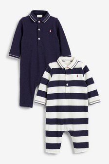 2 Pack Long Sleeve Polo Rompers (0mths-3yrs)